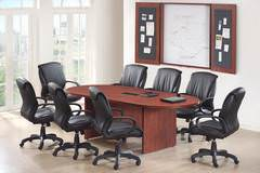 Cherry Racetrack Conference Table with Chairs