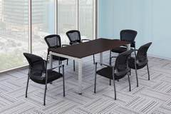 Espresso Rectangular Conference Table with Chairs