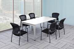 White Rectangular Conference Table with Chairs