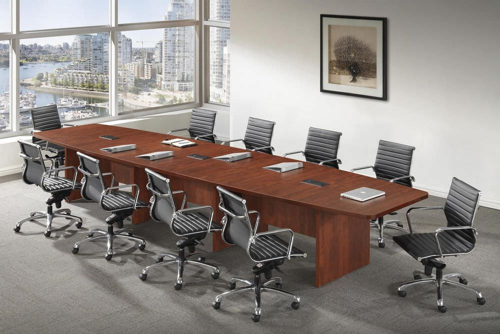 Large Conference Table Cherry Boat Shaped