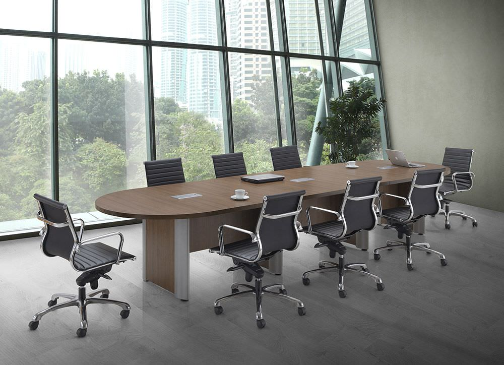Large Conference Table with Silver Accent Legs Modern Walnut Racetrack