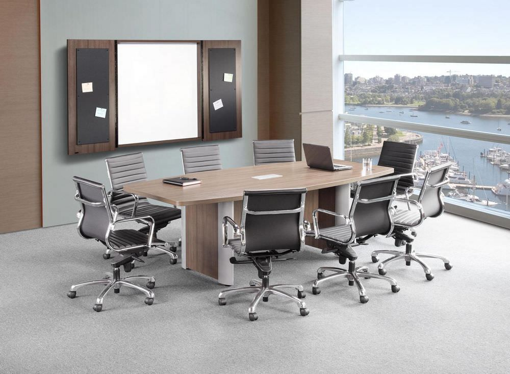 Modern Walnut Boat Shaped Conference Table with Silver Accent Legs.jpg