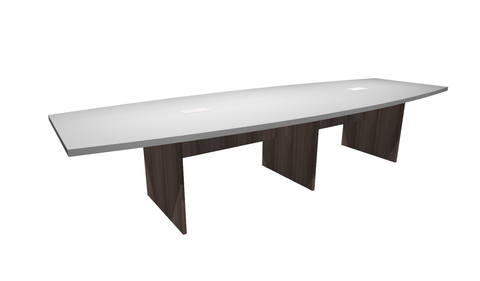 FT White Modern Walnut Boat Shaped Conference Table - 12 foot conference table