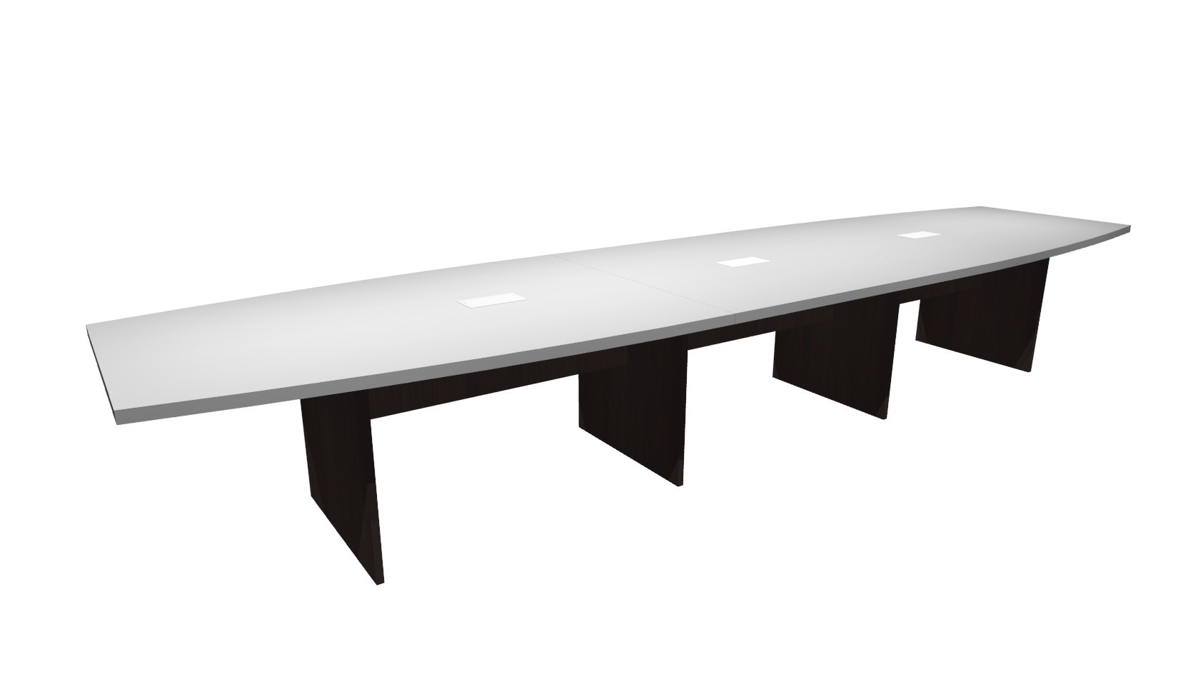 FT White Espresso Boat Shaped Conference Table - 16 ft conference table