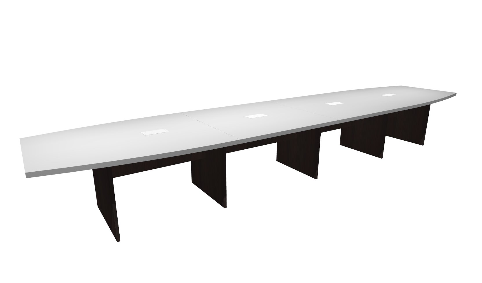 FT White Espresso Boat Shaped Conference Table - 18 ft conference table