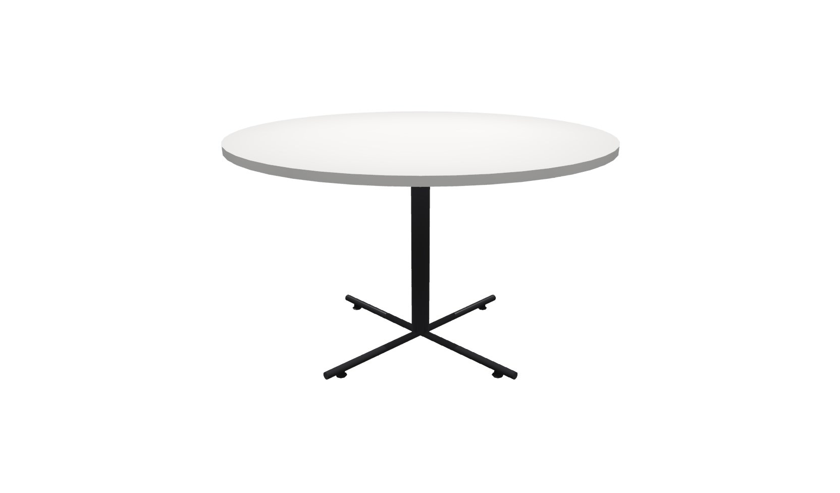 48 Inch Round Conference Table   (White / Black)