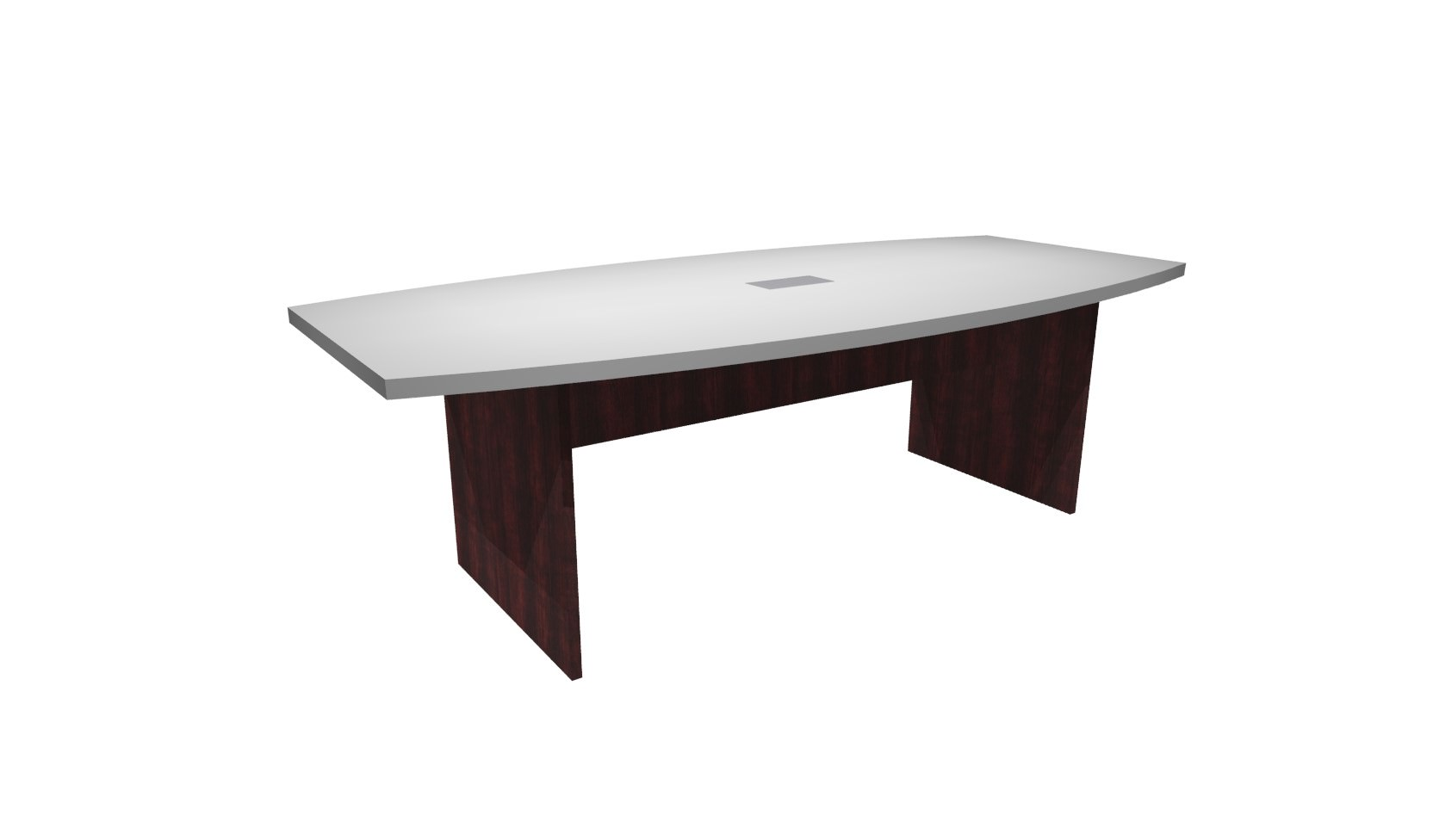 FT White Mahogany Boat Shaped Conference Table - 8 ft conference table