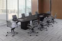 Boat Shaped Conference Room Table with Cube Base Legs