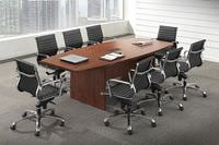 Boat Shaped Conference Table with Grommets