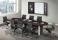 Racetrack Conference Room Table with Silver Accent Legs