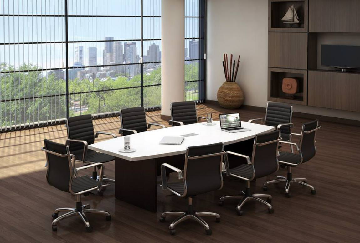 White Boat Shape Conference Room Table
