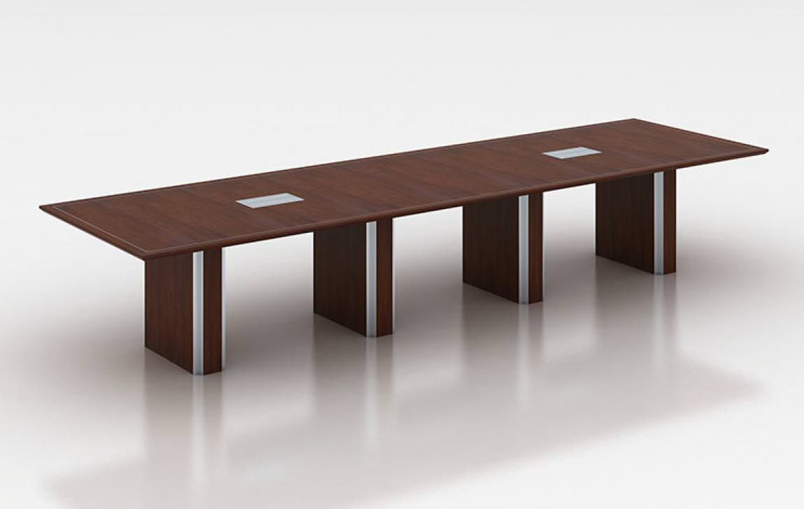 Wood and Metal Conference Table